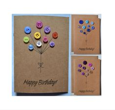 Button Balloon Birthday Card | Handmade Greeting Card by TheFeatherMoon on Etsy https://www.etsy.com/uk/listing/559529983/button-balloon-birthday-card-handmade