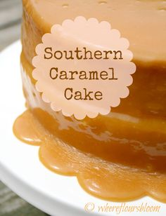 Old-fashioned Southern Caramel Cake ~ Ingredients: Caramel Icing - double the recipe: 2 c sugar, 1 c buttermilk, ½ c Crisco (solid), ½ c butter, 1 tsp baking soda. Pour over vanilla wacky cake. Sweet Recipes, Cake Recipes, Dessert Recipes, Yummy Treats, Sweet Treats, Yummy Food, Cupcakes, Cupcake Cakes, Southern Caramel Cake