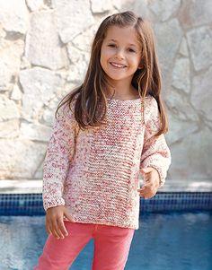 A Fil Katia design Knit Baby Sweaters, Girls Sweaters, Knitting For Kids, Baby Knitting, Easy Sweater Knitting Patterns, Kids Dress Clothes, Crochet Girls, Knit Fashion, Kids Outfits
