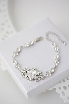 Crystal Bridal Bracelet Wedding Jewelry Swarovski Crystal Bracelet Delicate Wedding Jewelry ESTELLA Deluxe Bracelet by LuluSplendor on Etsy https://www.etsy.com/listing/260566296/crystal-bridal-bracelet-wedding-jewelry
