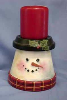 Painted terra cotta pot snowman