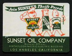Sunset Oil Company Sunset Products Sunset Thrift Parade Company Promotion Decal Magnet. Exact reproduction & hand cut as designed. by RoadTripMagnets on Etsy
