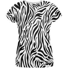 Zebra Print White Sublimated Adult T-Shirt - Small, Multi Zebra Halloween Costume, Zebra Costume, Mustang T Shirts, Wild Style, Pink Zebra, White T, Zebra Print, Printed Shirts, Lounge Wear