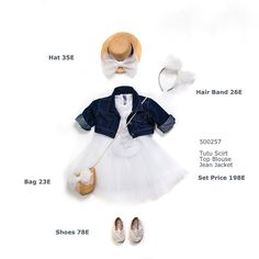 Baptism dress,Girl Outfit 3pcs - Baptism outfit- Christening- flower girl Outfit -Girl First Birthdaydress-Baby princess dress -jean outfeet