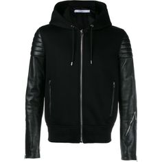 Givenchy Givenchy Leather Hoodie Jacket ($3,250) ❤ liked on Polyvore featuring men's fashion, men's clothing, black, givenchy mens clothing, mens leather apparel and leather mens clothing