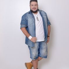 Profession : Plus Size Male Model - Mannequin homme grande taille - Marcio Valadares - Mens Plus Size Fashion, Chubby Men Fashion, Big Men Fashion, Plus Size Men, Moda Plus Size, Big And Tall Style, Best Casual Outfits, Mode Plus, Style Casual