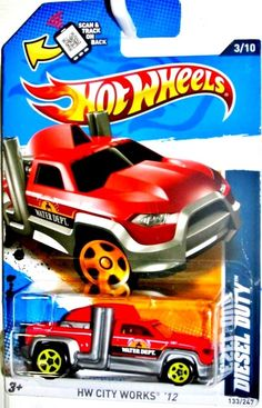 Diesel Duty Truck Hot Wheels 2012 City Works #3/10 Red Yellow HW WATER DEPT. #HotWheels #HotWheels