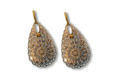 Earrings by Maxi's Gold Filigree, Diamond Design, Designer Earrings, Pink And Gold, Drop Earrings, Gallery, Jewelry, Bijoux, Drop Earring