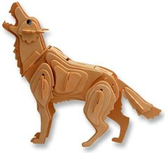 3-D Wooden Puzzle - Small Grey Wolf -Affordable Gift for your Little One! Item #DCHI-WPZ-M024A