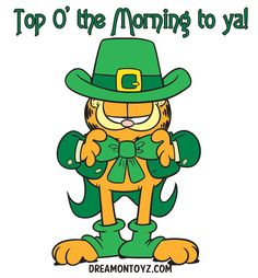 Top O' the Morning to ya! MORE Cartoon Graphics & Greetings http://cartoongraphics.blogspot.com/ AND https://www.facebook.com/dreamontoyz  Irish Garfield the Cat dressed in green