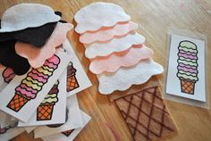 The child will put different scoops of ice cream on top of each other to make different ice cream patterns.