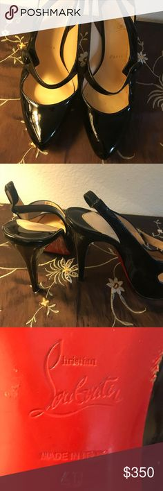 Christian Louboutin black heels Used condition. Does not come with box or dust bag. 100% authentic. Please see photos for wear. Size 40 so please do conversion per brand. Platform style. Christian Louboutin Shoes Heels