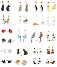 #Bijoux fantaisie : boucles d'oreilles animaux en porcelaine par Nach Bijoux.