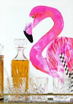 Flamingo chillin' at the bar