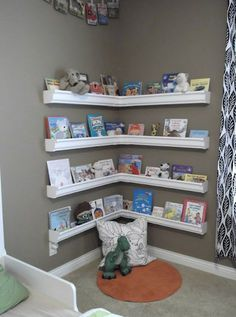 Gutters into book shelf. Could even be used up high along an entire wall as a border.