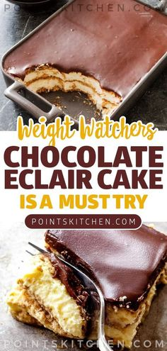 Easy NO Bake Weight Watchers Chocolate Eclair Cake! Tasty Weight Watchers dessert you WILL NOT want to pass up! This Chocolate Eclair Cake has all of the great flavors of an éclair. Creamy and delicious layers of goodness. Weight Watcher Desserts, Weight Watchers Snacks, Plats Weight Watchers, Köstliche Desserts, Healthy Desserts, Delicious Desserts, Dessert Recipes, Eclair Cake Recipes, Light Desserts