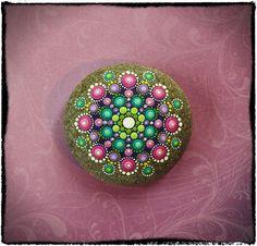 Elspeth McLean - Jewel Drop Mandala Painted Stone- Regal Royal #elspethmclean #mandala #paintedrock #stone