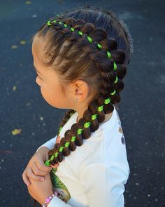 Four strand ribbon braids for school today. Have a great Tuesday 💚 . - Hair Styles For School Girls School Hairstyles, Sporty Hairstyles, Flower Girl Hairstyles, Easy Hairstyles, Braided Hairstyles For School, Athletic Hairstyles, Volleyball Hairstyles, Toddler Hairstyles, Hairstyles Videos
