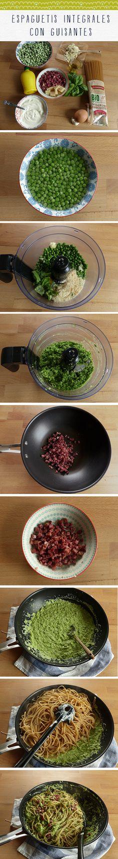 Espaguetis integrales con guisantes y albahaca - Hierbas y especias