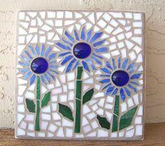 Mosaic Wall Art Mosaic Flowers Boho Decor Small by bluewaveglass
