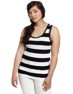 4784ef9a0c4 Southpole Juniors Plus-Size Rugby Stripe Ribbed Tank Top