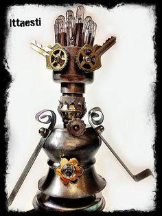 Tin Walker a Robot sculpture handmade with found object