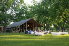 Barn Pavilion set up for an Open Air Reception Rustic Barn Wedding at The Fritz Farm Wedding Venue in Cordele, GA