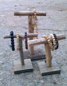 Set/3 Rustic Jewelry Display Stands by SilverSoupJewelry on Etsy, $24.00
