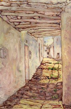 Calle Silencio número 5, Capileira, Alpujarra de Granada. Óleo sobre tablilla entelada de 41 x 27 cm. Este cuadro está pintado con la luz de un día soleado de abril de 2014. Pintura de Manuel Morales #Capileira #Alpujarra #Granada #ILoveAlpujarra