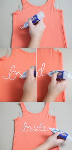 How to easily make bridal party t-shirts using a Clorox bleach pen!!! #diywedding #somethingturquoise