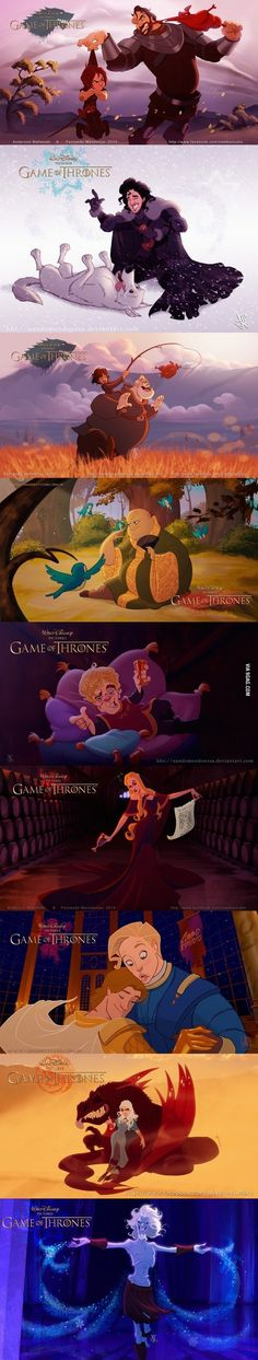 This is friggin' awesome ^^ Gotta love Disney and gotta love Game of Thrones :) This cross-over would be epic :P