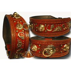 This leather dog collar is inspired by the great antique designs, from the wood like varnish look to the hand tooled leather. Bring out the vintage and the boldness in your dog with this great collar! 3.5 inches in width, this piece is for large breeds only. The collar in the picture is depicted in a 34-inch neck ci