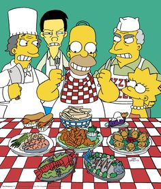 It's the holiday season and Homer's first in line at the buffet this year!