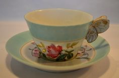 Beautiful  Haviland Limoges Cup and Saucer  ~ Rose  and Floral Decorated  ~ Butterfly  Handle, circa 1875-1890.