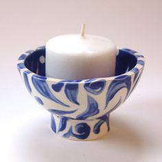 Holiday Blue & White pottery dish w/ polka-dots, leaves, swirls :) Holiday Decor, jewelry dish, ring holder, candleholder