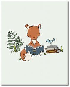 Garçon chambre d'enfant bois Art: Un ensemble de gravures d'un garçon et le renard, lire des livres. Vous pouvez personnaliser ces impressions de toutes les couleurs que vous choisissez, que ce soit de la Charte de couleur ou une image ou un lien, faites le moi savoir et je peux