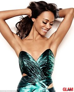 Liquid nitrogen: Zoe Saldana is sensational in this green metallic gown for the Autumn edition of Glam Belleza Latina