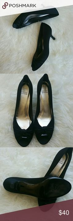 Stuart Weitman low heels Gorgeous classic black kittens. Studded details at open toes. Perfect for long wear at the office or a party. Brand new, never worn. Not in box. Shoe fabric is satin. Stuart Weitzman Shoes Heels