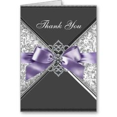 purple thank you | Diamonds Purple Black Damask Thank You Cards by The_Thank_You_Store