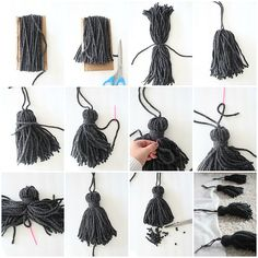 Wie man einen klobigen Quastenwurf macht - Diy Projekte How to make a chunky tassel throw # chu Creation Deco, Creation Couture, Pom Pom Crafts, Yarn Crafts, Diy Wood Stain, How To Make Tassels, Making Tassels, Diy Tassel, Beaded Garland