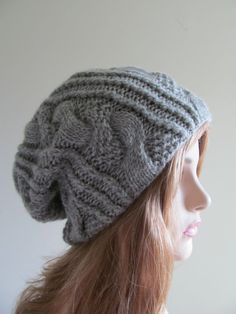Items similar to Slouchy Beanie Slouch Hand Knit Cozy Spring Winter Wool  Hats Oversize Beret Baggy Grey Big Cables on Etsy ec2fac876674