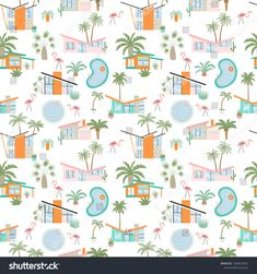 Cool Pools, Palm Springs, Mid-century Modern, Pool Fun, Mid Century, Curtains, Quilts, Blanket, Pattern