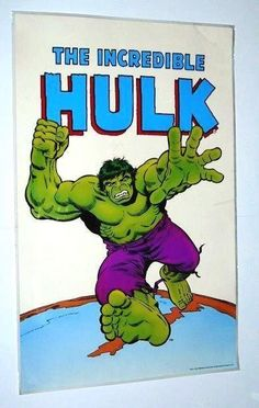 Rare vintage original 1978/1985 Marvel Comics Incredible Hulk poster: Art by Herb Trimpe and John Romita Sr! 1970's/1980's Avengers superhero pin-up! Marvelmania