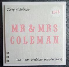 Personalised Mr & Mrs Handmade Wedding Anniversary Card - SC25 £2.75