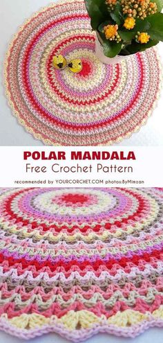 Crochet Mandala Rug Pattern Ideas Crochet Mandala Rug Pattern Ideas Learn the fact Crochet Mandala Pattern, Crochet Circles, Crochet Amigurumi Free Patterns, Afghan Crochet Patterns, Crochet Crafts, Easy Crochet, Crochet Projects, Crochet Ideas, Crochet Baby