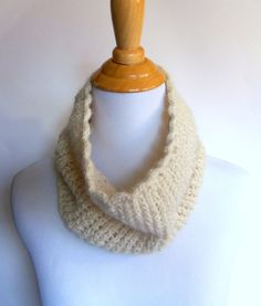 handknit alpaca lace cowl in ivory - handknit soft and lightweight neckwarmer made from natural locally sourced fibers - on SALE for $27.50 at kateydidhandmade