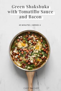 """Lemony and tart, our Green Shakshuka with Tomatillo Sauce is bright, rich and flavourful and willhave you singing, """"I do so like green eggs and ham. Bacon Recipes, Spicy Recipes, Brunch Recipes, Real Food Recipes, Dinner Recipes, Brunch Ideas, Pancake Recipes, Crepe Recipes, Waffle Recipes"""