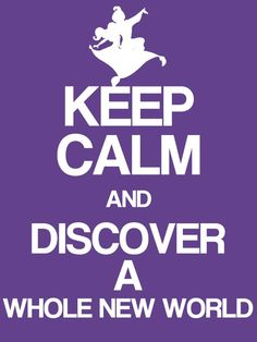 "Keep Calm & Discover a whole new World - Aladdin - Project Life Disney Filler Card - Scrapbooking. ~~~~~~~~~ Size: 3x4"" @ 300 dpi. This card is **Personal use only - NOT for sale/resale** Logos/clipart belong to Disney. Font is Coolvetica http://www.dafont.com/coolvetica.font ***"