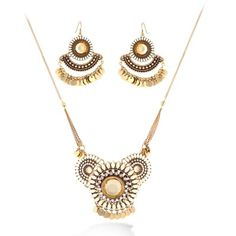 Gold-Tone Cream Beads Necklace And Earring Set