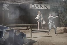Anna Selezneva: Bonnie and Clyde Harpers Bazaar US March 2010 byPeter Lindbergh Bonnie And Clyde Costume, Bonnie And Clyde Photos, The Bonnie, Bonnie Clyde, Peter Lindbergh, Anna Selezneva, Strikes Again, Portraits, Harpers Bazaar
